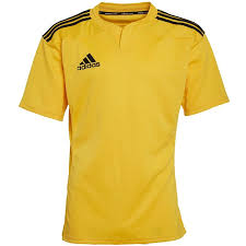 adidas mens 3 stripe rugby shirt yellow black