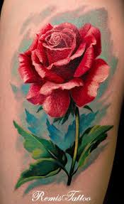 red rose tattoo a red rose being the queen of roses conveys warmth affection and love it symbolize the true love
