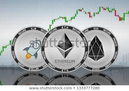 Stellar Stock Chart Ethereum Eth Stellar Xlm Eos Cryptocurrency Stock Image