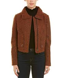T Tahari Coat Size Chart Amazon Com T Tahari Womens Marled Boucle Cropped Zipper