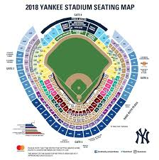 the 2018 yankee stadium seating map ilrates the expanded protective netting