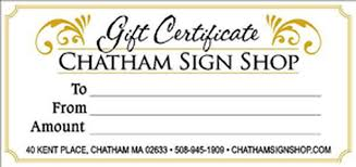 Gift Certificate Sign House Number Signs Custom Business Signs The Chatham Sign Shop