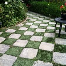 patio stones with grass in between. Exellent Stones Checkerboard Pathway By Using Square Patio Stones And Then Plant The Earth  In Between Throughout With Grass In C