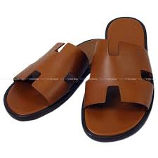 hermes hermes men leather sole sandals is mir 41 gold calf new article mint condition