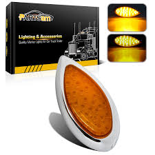 Drop Lights Automotive Truck Trailer Marker Rv 35 Led Amber Yellow Tear Drop Stop Turn Signal Tail Light Chrome Bezel