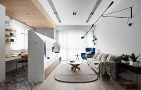 small home office. This Modern Apartment Has A Pony Wall In The Living Room, That Divides  Open Small Home Office