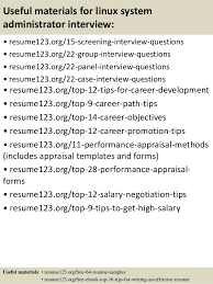 Linux System Administration Sample Resume 21 14 Useful Materials