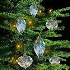 Irisierender Glasfäden Baumschmuck 6er Set