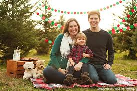 family photos simply styled at a tree farm perfect for a card