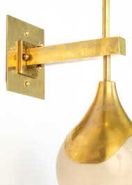 midcentury modern murano glass and brass sconces  jean marc fray