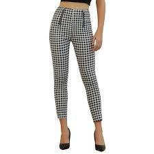2019 <b>Echoine</b> Female Trousers Black And White <b>High Waist</b> Plaid ...