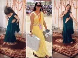 Yellow Sari Fame Up Poll Officer Reena Dwivedi Dances To Sapna