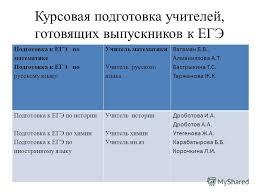 Презентация на тему Стратегический план подготовки к ЕГЭ  9 Курсовая подготовка