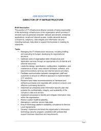 director of it infrastructure job description service director job description