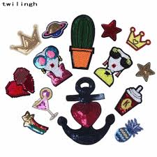<b>1 pcs</b>/<b>lot</b> Brand <b>Embroidered</b> Patches Crown Cactus Star Sequin ...