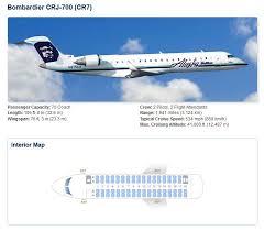 Bombardier Crj 700 Aircraft Seating Chart Alaska Airlines Bombardier Crj 700 Aircraft Seating Chart