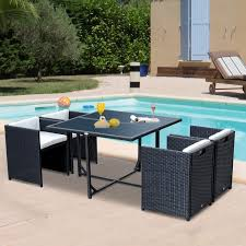 outdoor patio furniture. Outsunny 5pcs Rattan Wicker Dining Sofa Table Set Outdoor Patio Furniture With Cushion, Black