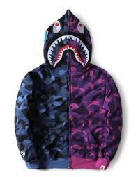 Aape Hoodie Size Chart New Mens Camo Bape Shark Jaw Full Hoodie Full Zipper Aape