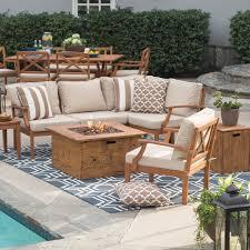 amazing outdoor conversation sets with fire pit belham living brighton wood set