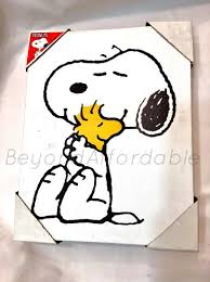 peanuts snoopy woodstock hugging painting wall art canvas artissimo picture 1921564282