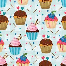 Sweet Snack Seamless Pattern Cupcake Muffin Wallpaper Vector