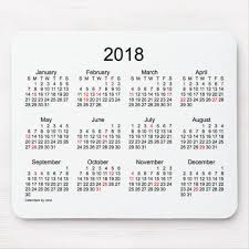 2018 Black And White Holiday Calendar By Janz Mouse Pad Zazzle Com