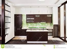Modern Kitchen Interior Modern Kitchen Interior With Dark Wooden Floor Royalty Free Stock
