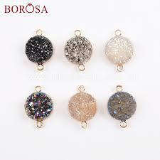 <b>Borosa 5pcs</b> Round <b>Gold</b> Platingtitanium Agates Druzy Connectors ...