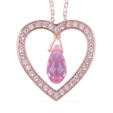 from the heart white swarovski crystal heart pendant necklace in 14k rg over sterling silver 18 in lc
