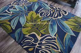 8x11 tropical coastal beach palms blue aqua green indoor outdoor for area rugs design 9