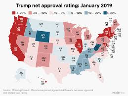 Trump Approval Rating By State Map January 2019 Business