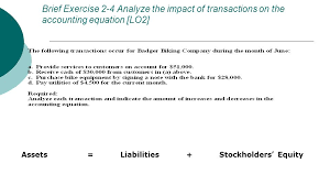 brief exercise 2 4 yze the impact of transactions on the accounting equation lo2