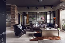 Apartment:Industrial Bedroom Apartment Design With Dark Gray Wall Also  Rustic Iron Racks Terrific Modern