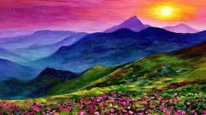 sunset landscape live acrylic painting tutorial