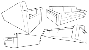 couch drawing. 2 Point Perspective Couch Drawing