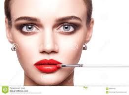 Dark Eyes Light Lips Makeup Professional Makeup Artist Applies Makeup For Beautiful