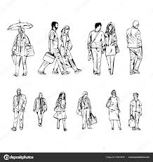 Line Illustration Of Abstract People Walking On A White Background