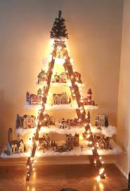 Christmas Tree Village Display Stands Beautiful Christmas Ladder Village Crafty Morning 61