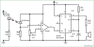 infrared ir based security alarm circuit using 555 timer ic lm358 circuit diagram and explanation