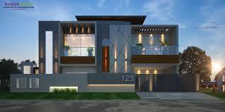 Modern Elevation Rendring House Outside Design House