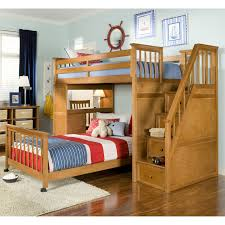 ... Simple Kids Funky Beds With Wooden Stairs And Wooden Bed And Lamp White  Rugs Wooden Floor Adult Loft ...