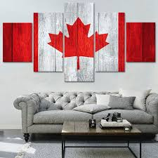 purchase charms canadian flag canvas print painting framed flash home wall decor art hd poster 5pcs