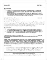 Sample Resume Cover Letter For Construction Manager Tomyumtumweb Com