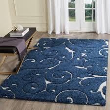 unsurpassed dark blue area rug florida cream ivory 5 ft 3 in x 7 6