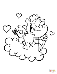 Small Picture Cute Cupid with Bow and Arrow Flying in Cloud coloring page Free