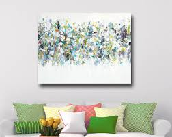 large canvas art wall art green blue white abstract print giclee print large floral art painting flower canvas modern floral art on large blue flower wall art with abstract floral art etsy