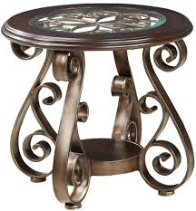 small round dark brown wrought iron coffee table with glass top for home furniture idea