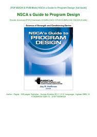 Nsca Program Design Pdf Book Nsca S Guide To Program Design Ebook Online
