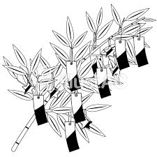 笹飾り七夕飾り白黒イラスト No 177165無料イラストなら