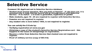 Selective Service ment 30 Applicant not in Selective Service database